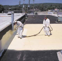 Workers spraying roof for Commercial Roofing in Fredericksburg, Virginia